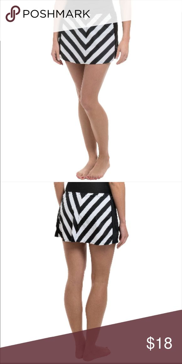 Swim Cover Up Skirt Exciting chevron striping creates such a sensation below your swimsuit top, it's quite possible everyone will think Longitude's All-Lined-Up cover-up is a real stunner of a beach dress.  Fabric is a quick-drying nylon with 18% stretch Easy pull-on skirt style Fabric: 82% nylon, 18% spandex Care: Hand wash, hang dry Longitude Swim Coverups
