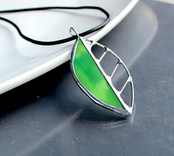 OOAK Contemporary Stained Glass Leaf Necklace.