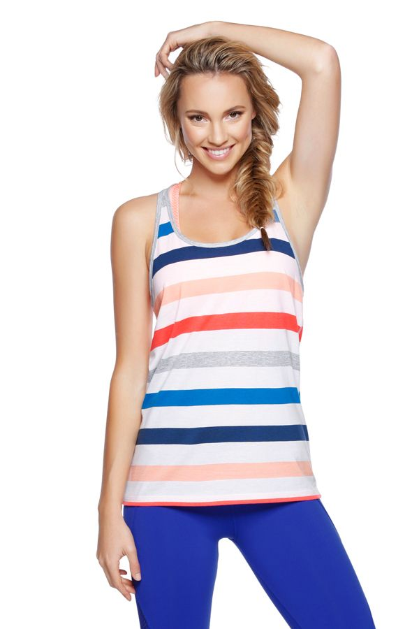 The latest LJ slouchy with brightly coloured striped panels, is an easy to wear relaxed fit tank. Layer over your LJ sports bra of choice and cruise into your workout or weekend in effortless style.