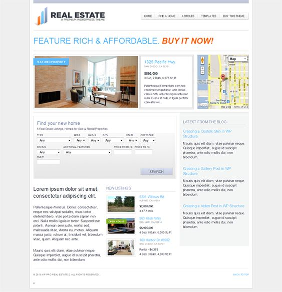 This real estate WordPress theme comes with a mortgage loan calculator, unlimited color options, unlimited images for each listing, Google Maps integration, custom agent profiles, advanced listing search, full localization, and loads of other useful features.