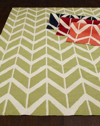 """""""Chevron"""" Flatweave Rug at Horchow. $759 for 8 x 11, could be fun in the navy or dark red"""