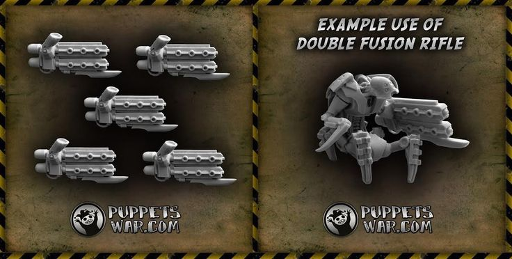 New weapons in our webstore:  Double Fusion Rifle Arm for our Cyber Invaders faction.  http://puppetswar.eu/product.php?id_product=608