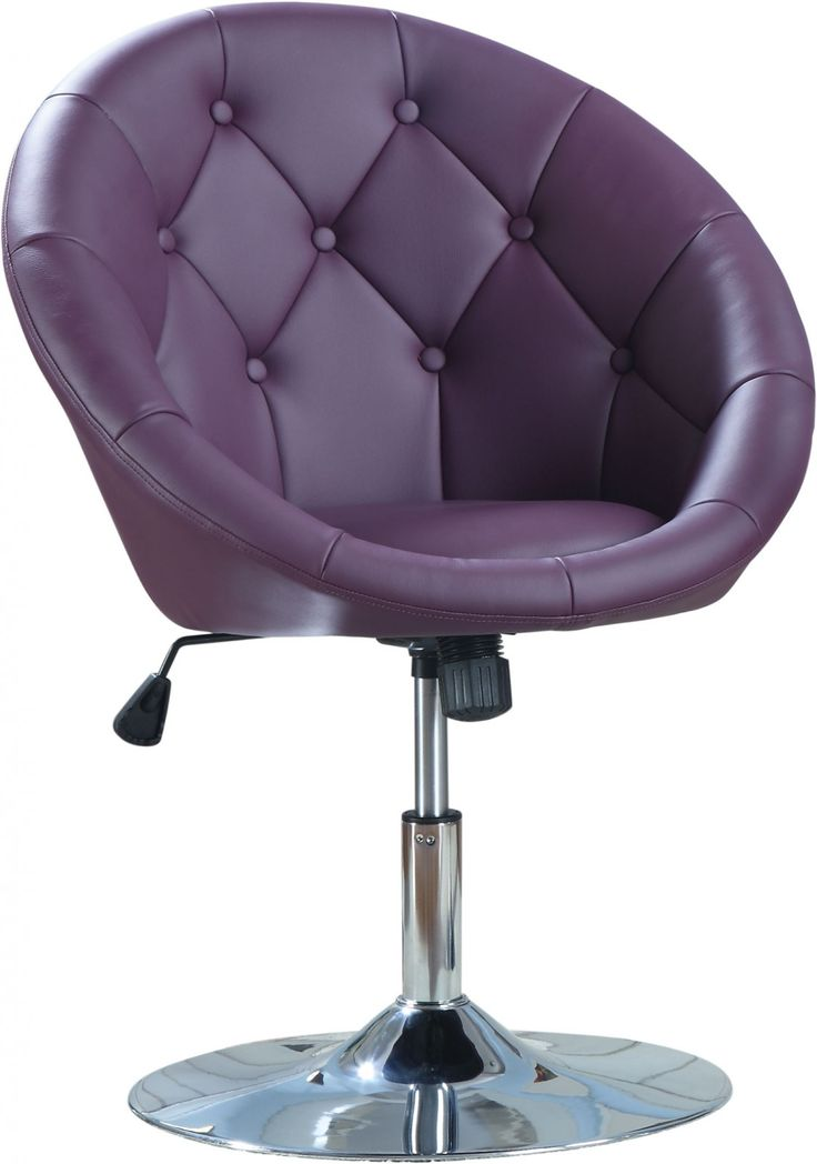 Lavish Purple Leatherette Swivel Desk Chair With Tufted ...