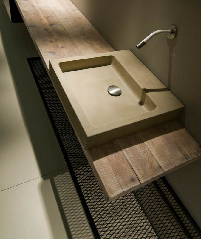 Cement washbasin Elle 45x45x9 available in white, black , sand, light grey, tobacco and violet