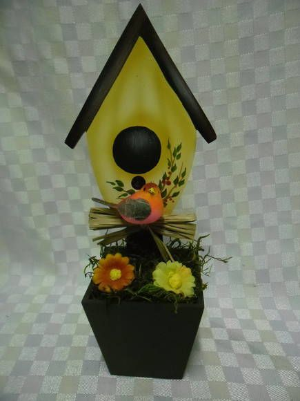 Vaso mini casinha passarinho | Artesanatos Ingrid Carvalho | 210E34 - Elo7