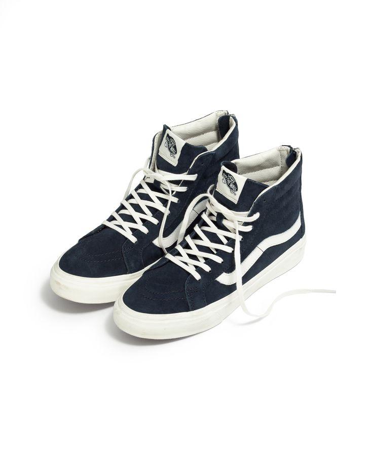 madewell vans® sk8-hi slim zip high-top sneakers in navy leather. #everydaymadewell