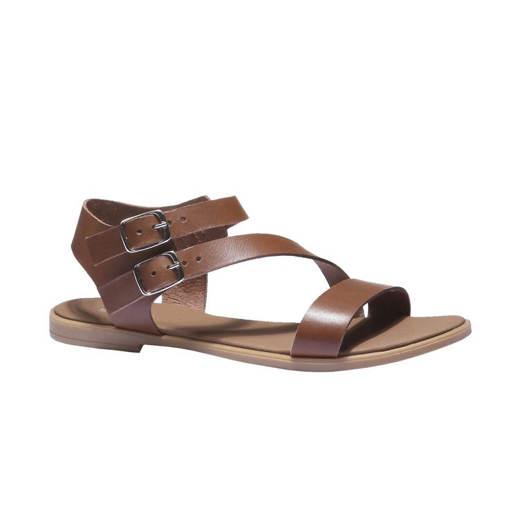 Kožené sandále v ležérnom štýle. Strih s rôzne širokými remienkami, so zapínaním na pracku a na pohodlnej podošve. Noste ich k nedbalo elegantným letným outfitom do mesta.