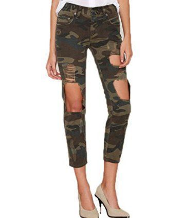 Camouflage clothing for women can be cute when done the right way.  As you can see camo print clothing can come in all different colors and styles.  Admittedly I love the unique, trendy and bolder prints as they are fashion forward and popular especially in 2017.  These are a cute addition to any woman's wardrobe.Akery Women's Camo Destroyed Hole Jeans Leggings