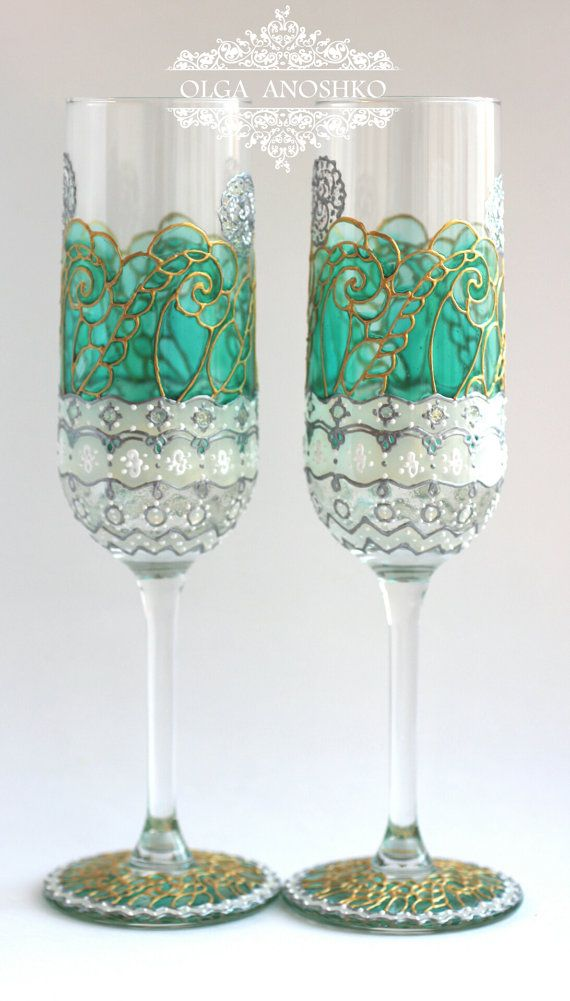 Wedding Glasses, Emerald Glasses, Champagne Flutes, Emerald Green Wedding, HAND PAINTED, Set of 2