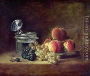 Still Life with a Basket of Peaches, White and Black Grapes ...  by Jean-Baptiste-Simeon Chardin