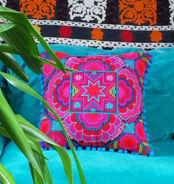 Embroidered Star Pillowcase with Pom Pom Trim by KavanaEmporium