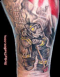 fireman tattoos   strike the box - firefighter tattoo