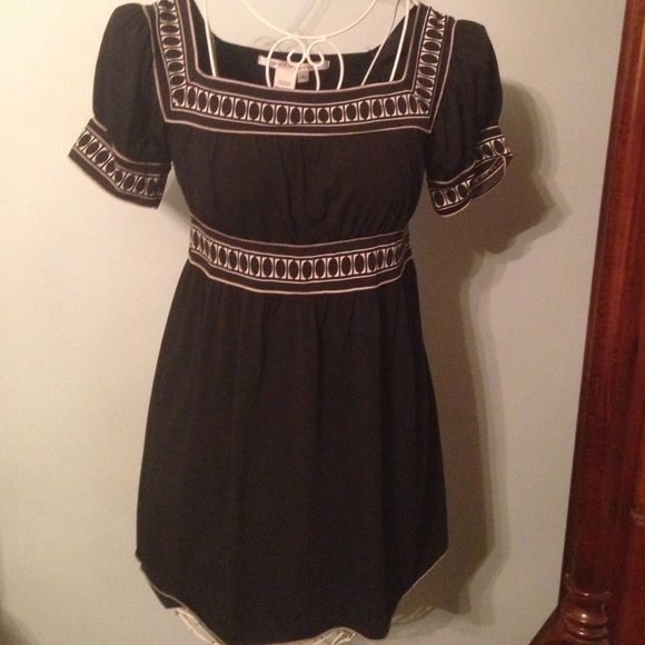 Max Studio Black smocked top Max Studio black and cream peasant top with capped sleeves.  Square neck line size small.  Like new. Max Studio Tops Tees - Short Sleeve
