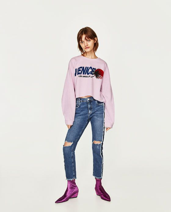 ZARA - TRF - MID-RISE SLOUCHY FIT JEANS
