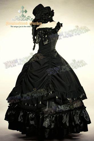 Grande robe de bal noire sans manche gothique aristocrate lolita