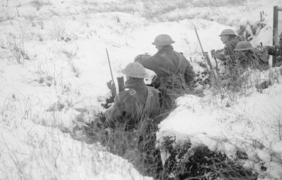 Canadian soldiers at Vimy Ridge, February 1917