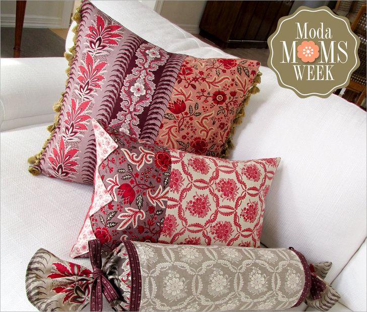 Elegant Patchwork Pillow Trio featuring Ville Fleurie: It\u0027s Moda Moms Week & 313 best Pillows and Cushions Patterns images on Pinterest ... pillowsntoast.com