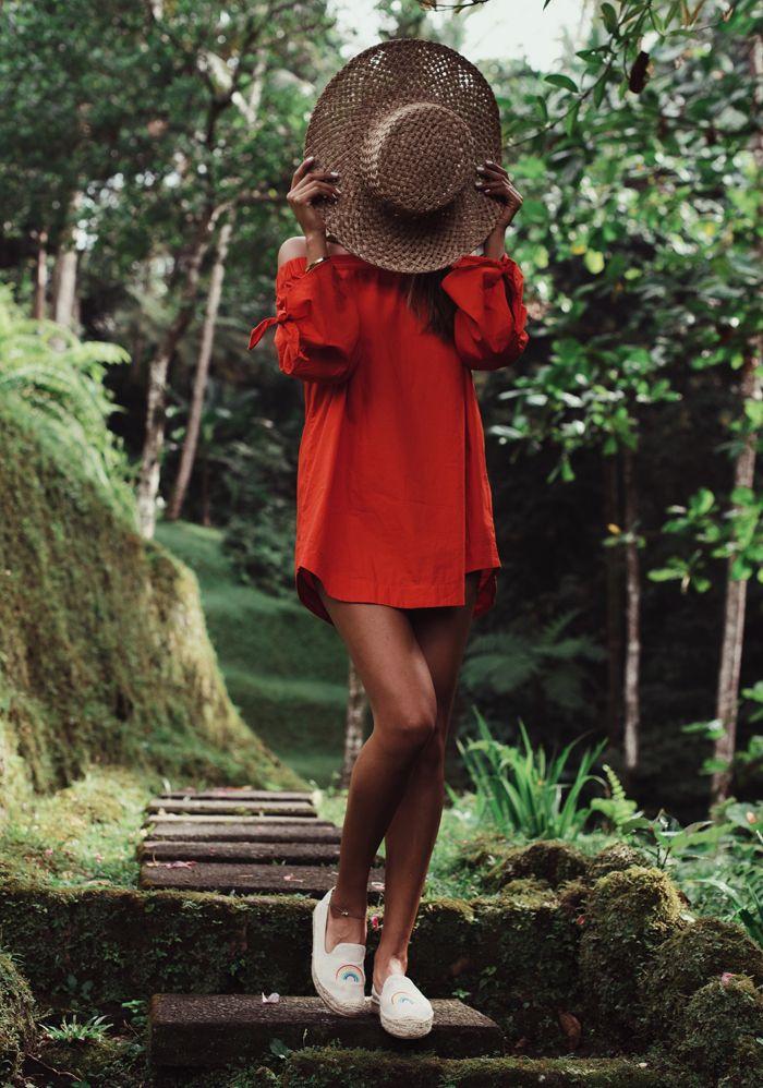 Bali Bali Pt. 1. Orange off the shoulder dress+raffia hat+white graphic espadrilles. Summer Vacation Casual Outfit 2017