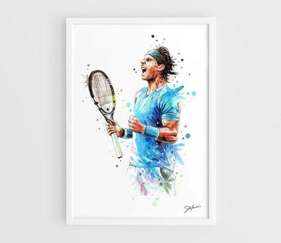 Rafael Nadal A3 Art Prints Of The Original Watercolors Paintings Tennis Poster Tennis Art Painting Original Watercolor Painting Art