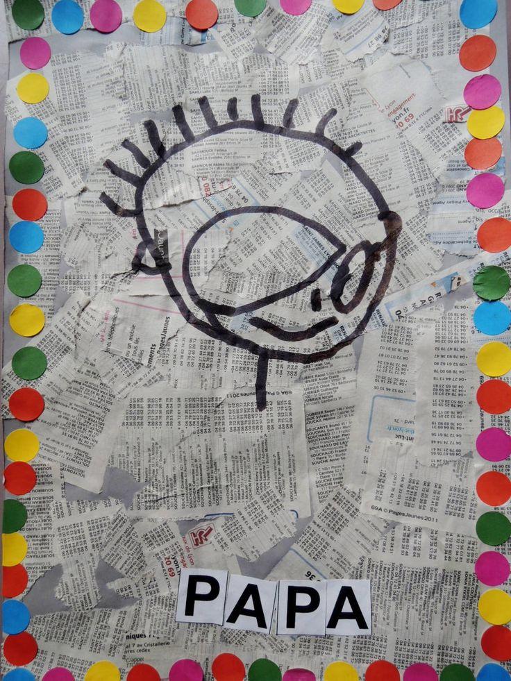 Vaderdagcadeau voor de jongsten gemaakt van gescheurde  (of geknipte) krant en versierd met gegomde plakkertjes. Het woord PAPA is erop geplakt (kan ook met kleine letters of geschreven worden). Of laat de letters van de naam v/d ll.  erop plakken of schrijven.