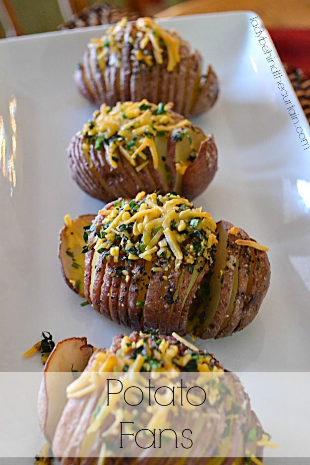 I love how these potato fans look on a buffet table. So elegant yet so easy to make. Add sour cream and bacon bits for loaded potato fans! :) Topped with lots of melted butter and herbs these potato fans add just the right amount of fun to a table. Perfect for a last minute side dish.