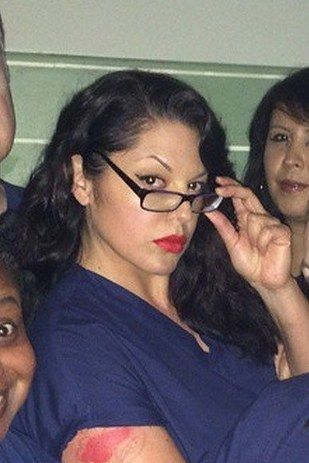 "Sara Ramirez nails Alex Vause quite effortlessly: | The Cast Of ""Grey's Anatomy"" Dressed Up As ""OITNB"" Is Something You Need To See"