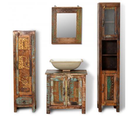 Badkamerset met 3 kastjes en spiegel van gerecycled hout