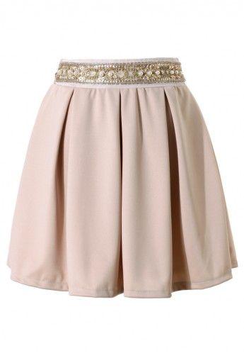 Sequins Pearl Waistband Skater Skirt