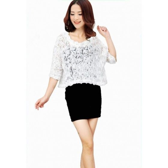 Fashion Women Thin Coat 3D Rose Flower Mesh Lace Batwing Sleeve Crop Top Pullover Outerwear