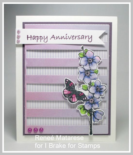 I Brake For Stamps: EVERY DAY PHRASES and CHERRY BLOSSOM WITH DREAM. Handmade anniversary card.