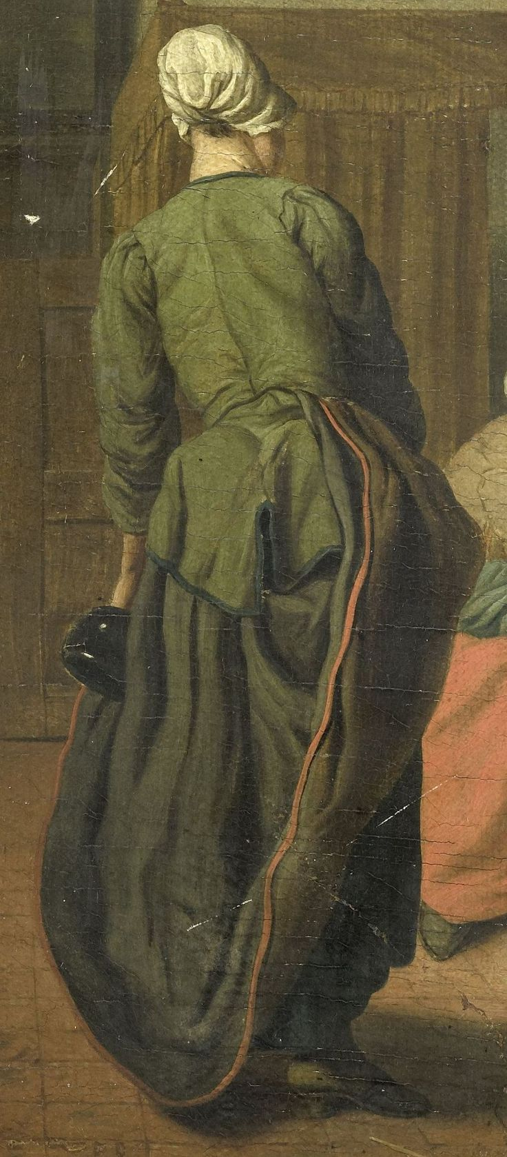 """1740 - 1760. Detail of """"Vrolijk gezelschap"""" (The Merry Company) by Jan Jozef Horemans II (Flemish painter). Women -- Clothing & dress -- 1700-1799 -- Belgium. 18th century Flemish costume. She wears a green jacket with darker green edging. Her black or dark brown petticoat has a red binding at the hem. She has another petticoat underneath, perhaps navy blue. Demonstrating one of the many ways in which the top skirt can be pulled up and tucked into the waistband."""