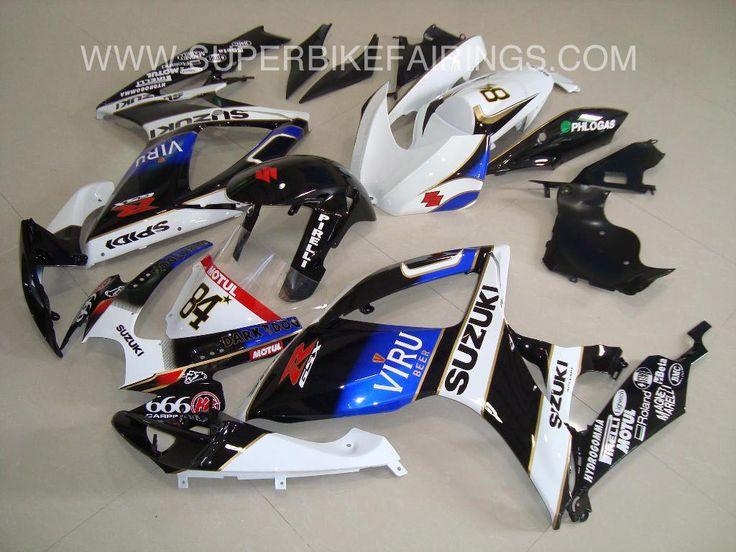 2006-2007 GSXR-600 750 Black, Blue & White Viru Fairings