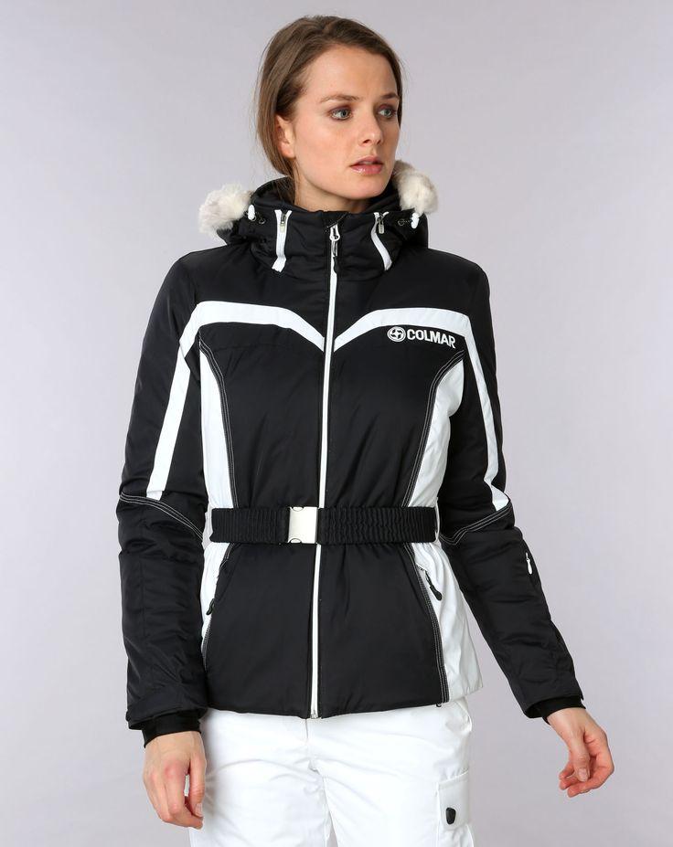 145,00€ - COLMAR - Veste de ski jewel col fausse fourrure noir/blanc
