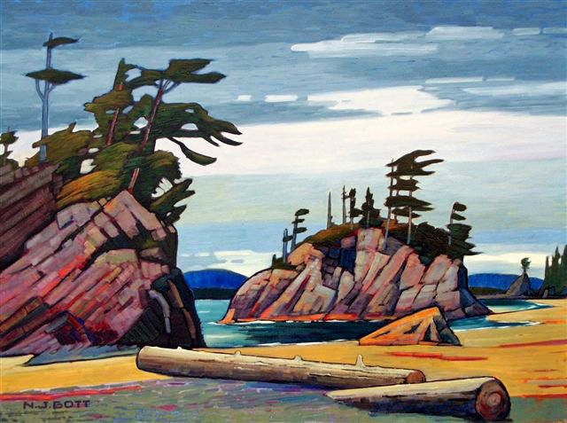 Nicholas Bott OIL Grey Sky B.C. Coast