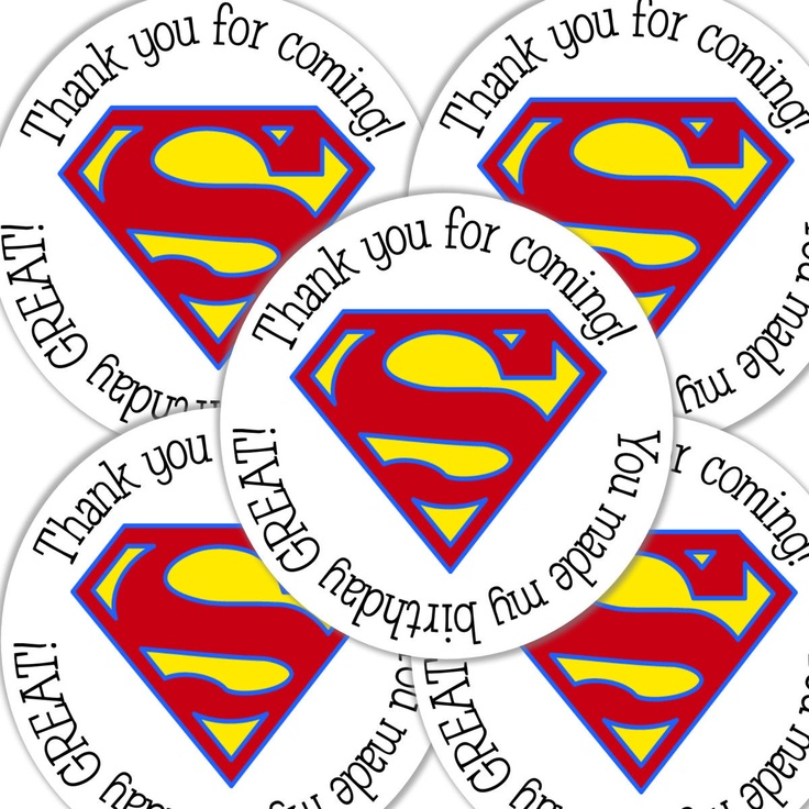 20  2 Inch round Superman Birthday sticker labels by bafoodle, $6.00
