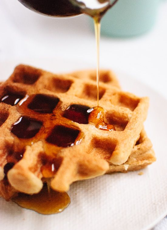 These gluten-free waffles are made with just one flour—oat flour! They're light, crispy on the outside, fluffy on the inside. Best waffles ever! cookieandkate.com
