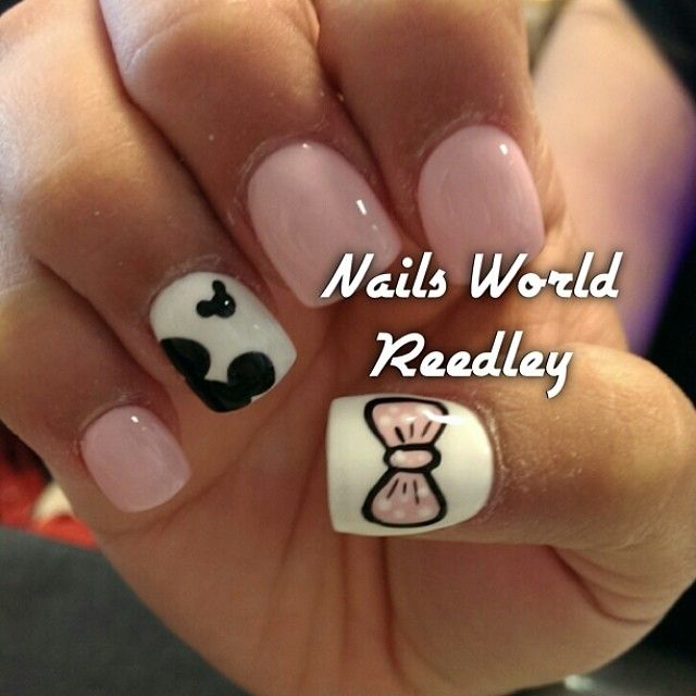 Minnie mouse theme nails-definatly going to get something like this for my baby's 1st.