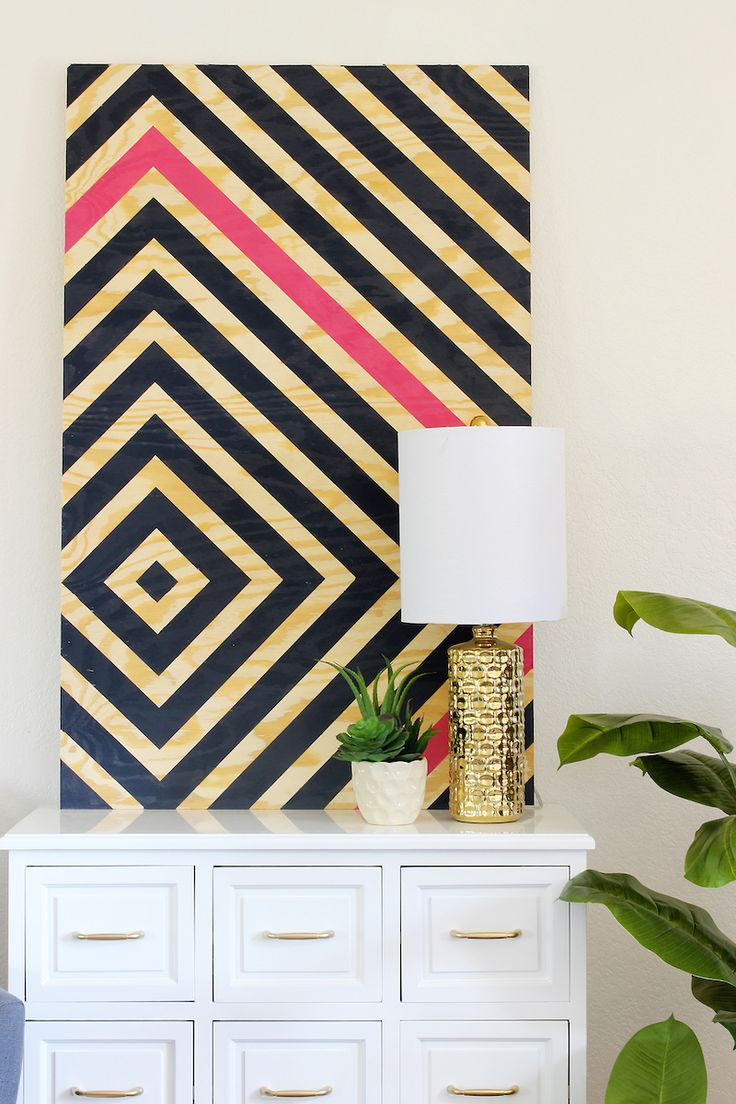 DIY Wall Art - Super easy, just plywood, painters tape and some paint! - Art mural facile avec contreplaqué, ruban pour peintre et peinture