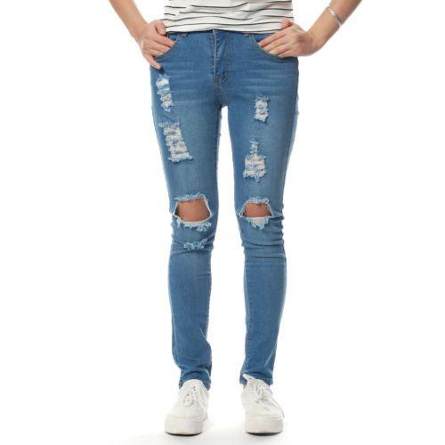 Venda quente das Mulheres Denim Rasgado Calças Jeans Stretch de Cintura Alta Fino Lápis Calças Skinny de Algodão
