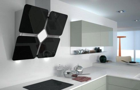 Fortune Rangehood - A designer rangehood that offers both wall extraction and light. These rangehoods are made of glass and stainless steel and come in a wide variety of colours. A sure way to brighten up your kitchen! #designerrangehood #rangehood #design