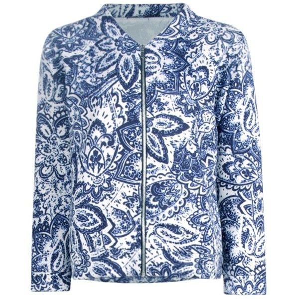 Boohoo Emily Porcelain Print Bomber | Boohoo (640 RUB) ❤ liked on Polyvore featuring outerwear, jackets, patterned bomber jacket, bomber jacket, print bomber jacket, print jacket and bomber style jacket