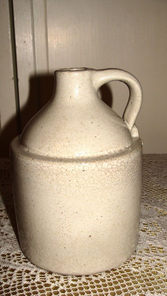 "STONE POTTERY JUG 6 3/4"" TALL 4 1/2"" WIDE GRAY"
