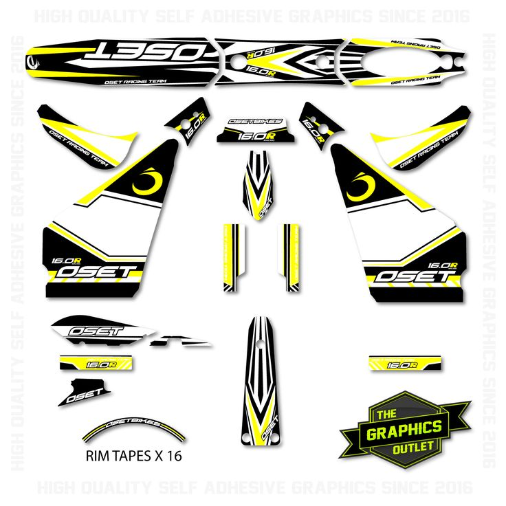 OSET BIKES - 2015 - 16.0 RACING NEW STYLE BIKE - OEM STYLE REPLICA FULL TRIALS GRAPHICS KIT - YELLOW ACCENTS