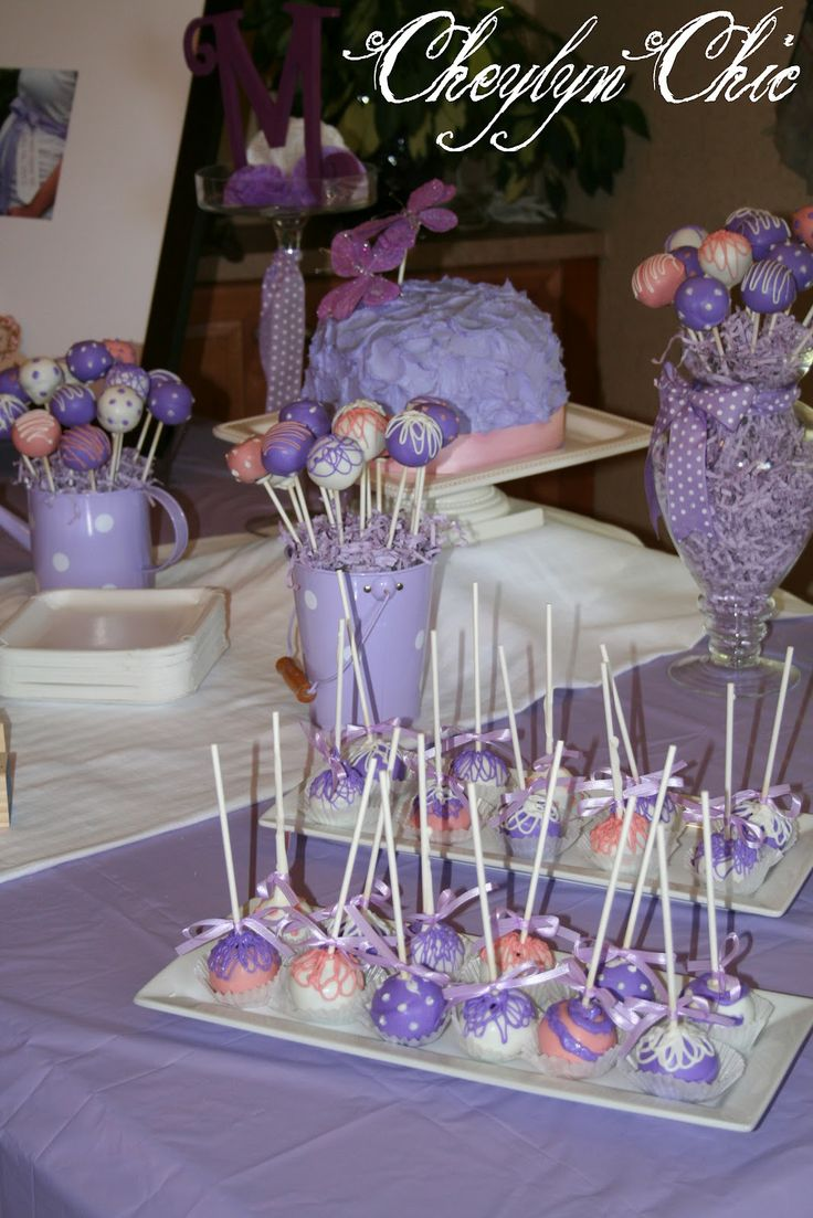 Baby Shower Themes In Purple ~ I like the idea of putting cake pops in cups for