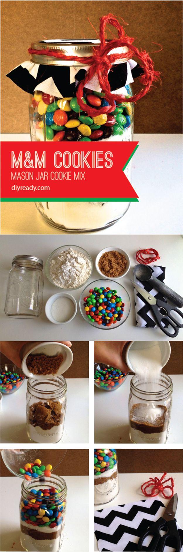 Mason Jar Cookie M&M Cookie Recipe | Easy Mason Jar Cookies by DIY Ready at  http://diyready.com/mason-jar-crafts-in-15-minutes/