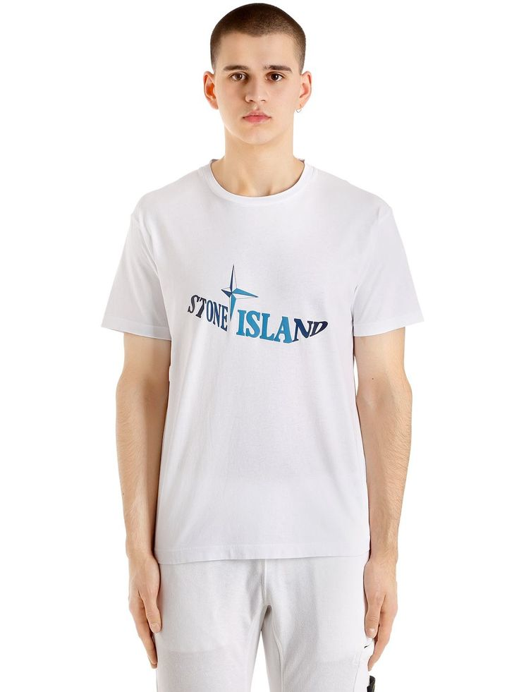 STONE ISLAND WAVE LOGO COTTON JERSEY T-SHIRT. #stoneisland #cloth #