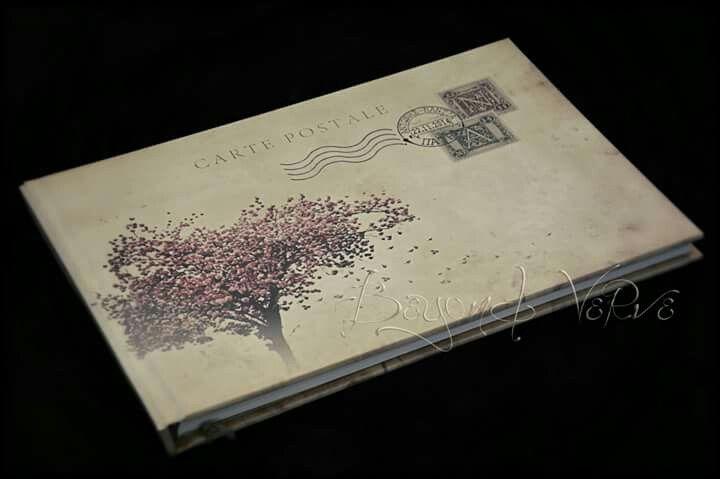 Vintage cherry tree guestbook carte postale postcard - Wedding stationery