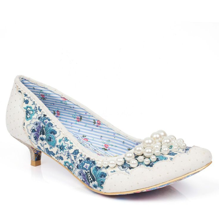 Looking for your something blue?   This delightful kitten heel features blue floral printed fabric with white scalloped trim and tiny pearls lining the toe. The low heel is adorned with glittering gold fabric providing an elegant finish to this lovely style.  Pearly Girly Low are the perfect unique bridal shoes for your vintage or alternative style wedding.