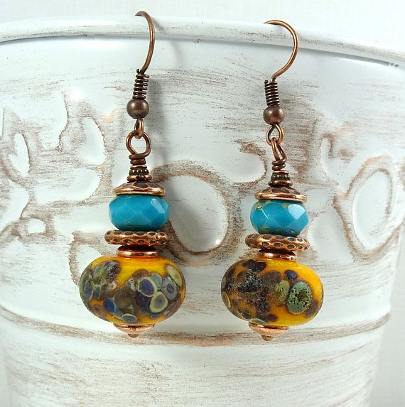 turquoise and yellow earrings handcrafted lampwork and czech beads artisan earrings blue and gold artisan boho earrings blue and yellow