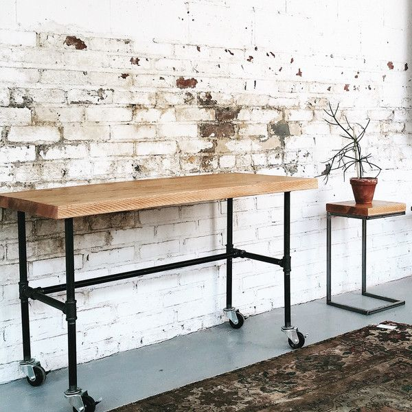 Ready To Ship Industrial Mobile Work Station Desk 498 Liked On Polyvore Featuring Home Furniture Desks Dining Room Living